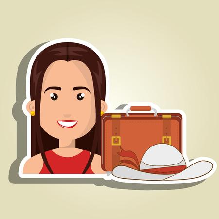 femme valise: woman suitcase travel location Illustration