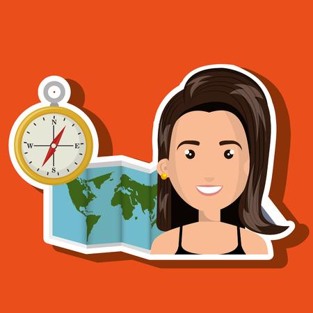 woman map world global travel Illustration