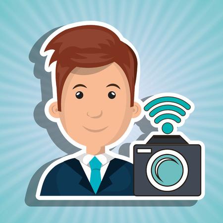blazer: man camera photography wifi vector illustration eps 10