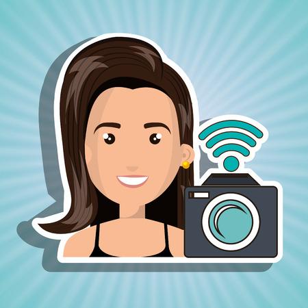 woman camera photography wifi Illustration