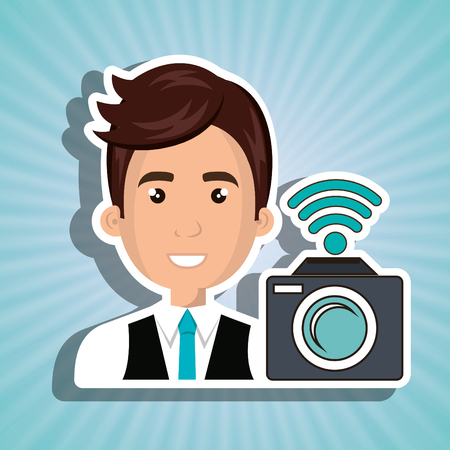 man camera photography wifi vector illustration eps 10