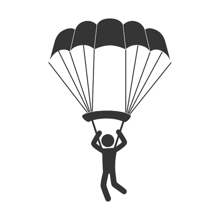 skydiving: parachute skydiving sport extreme sky air man vector illustration