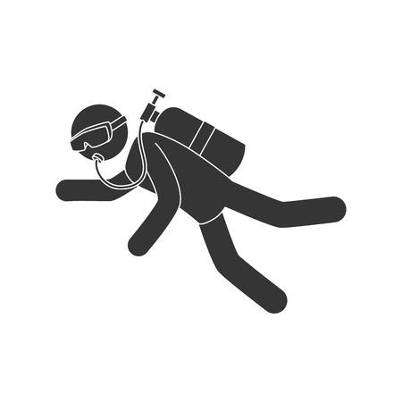 sportive: dive extreme sport ocean sea snorkel oxygen vector illustration