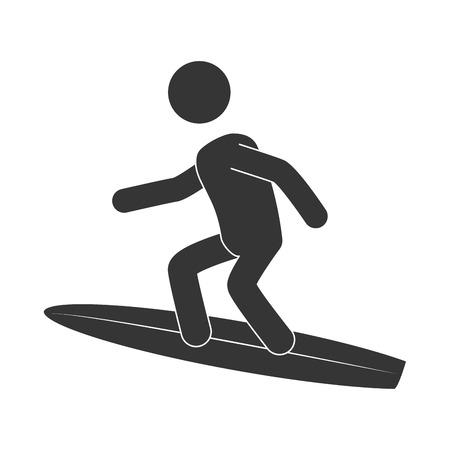 tabla de surf: tabla de surf deporte entrenamiento tabla de surf ejercicio extremo man�a sana ilustraci�n vectorial
