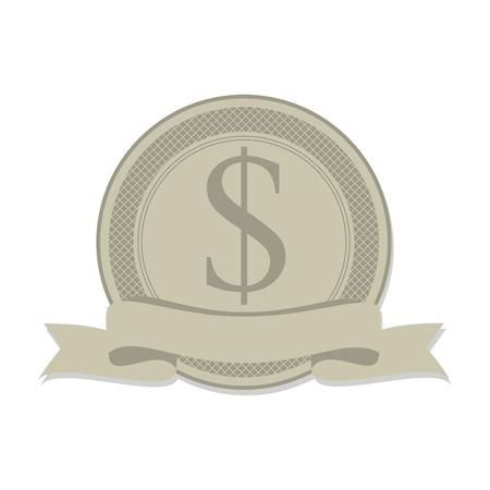 abundance: money sign symbol icoon bank cash rich insignia vector illustration Illustration