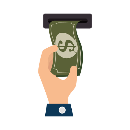 withdraw: bill money cash economy financial fortune rich withdraw atm  hand bank vector illustration Illustration