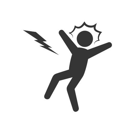 electrocution: electrocution man voltage shock thunderbolt vector illustration
