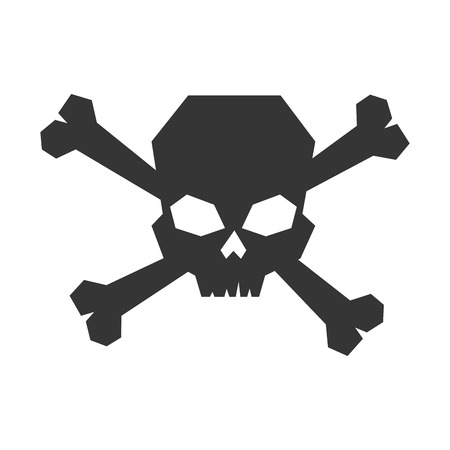 noxious: skull caution danger bones symbol warning toxic vector illustration