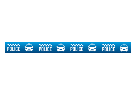 warning tape: tape police blue dont cross security warning precaution restricted safety vector illustration Illustration