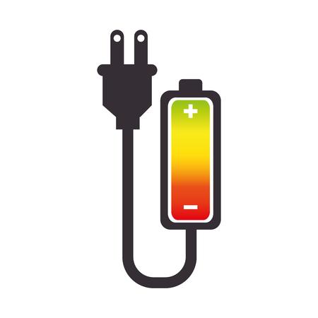 battery acid: battery plug charge power electric energy bar vector illustration Illustration