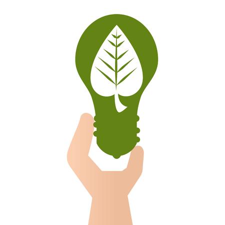 green bulb leaf go ecology environmental conservation save planet vector illustration Illustration