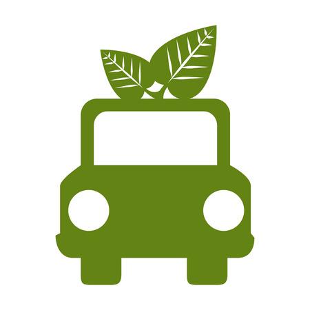 car green leaves ecology front auto environmental bio nature vector illustration Illustration