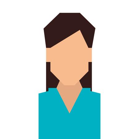 the human face: woman girl female person straight hair  face head human vector Illustration
