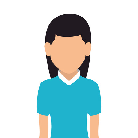 head shoulders: woman girl female person straight hair  face head human vector Illustration