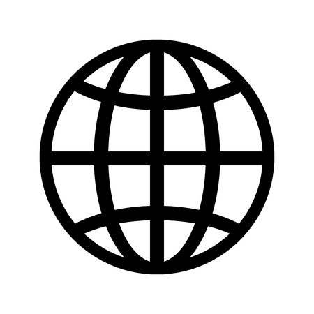 corporation: global icon globe connection network worldwide map corporation vector illustration