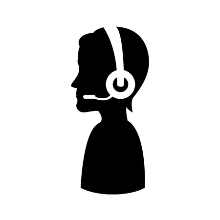 assistant: headset person call operator reception assistant support communication service vector illustration