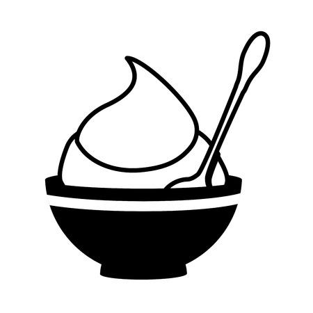 flavor: mustard sauce flavor food ingredient tasty bowl spoon product vector illustration