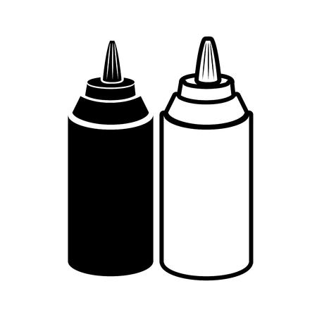 bottle sauce products flavor food ingredients silhouette vector illustration Illustration