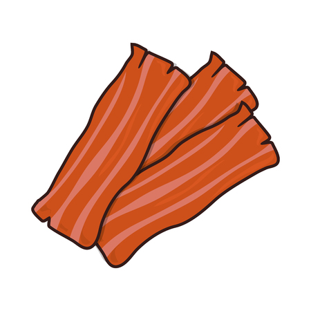 bacon strip food pig fresh slice tasty pork vector illustration Illustration