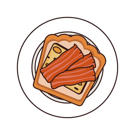 breakfast plate: bacon breakfast plate bread cheese cook tasty vector illustration