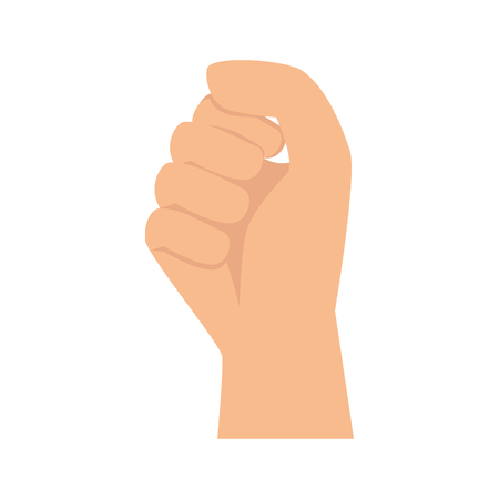 clenched: hand clenched fingers human person palm gesture vector illustration