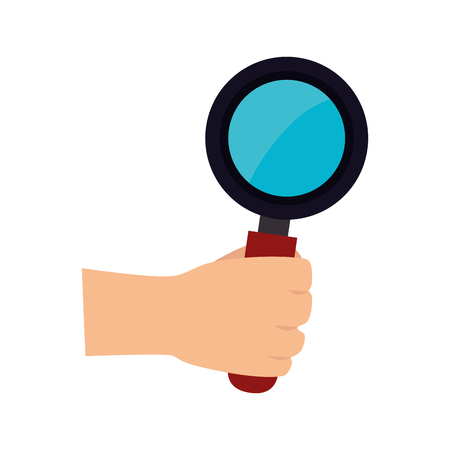lupe: man hand holding lupe magnifying glass search explore instrument focus examine vector illustration Illustration