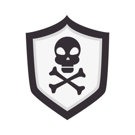 dangerous: skull shield danger alert caution attention dangerous warning vector illustration