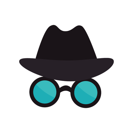 anonymity: spy thief crime glasses hat mysterious cyber security vector illustration