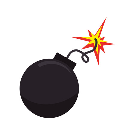 bomb boom explosion explosive detonate spark ball vector illustration