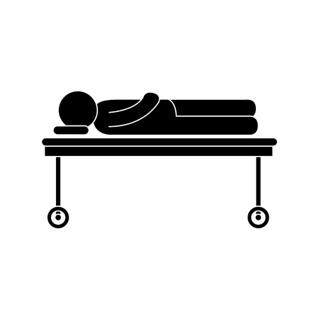 paciente en camilla: hombre lesión camilla ilustración vectorial enfermos de urgencias del hospital del paciente