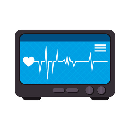 electronic device: medical device cardiology machine heart control technology vector illustration