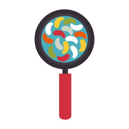 virus bacteria: loupe magnifying glass bacteria biology virus microbiology vector illustration Illustration