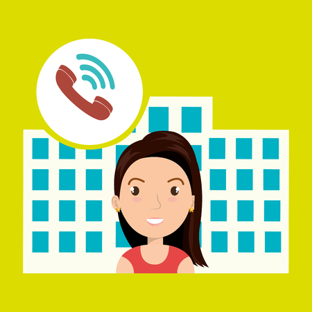 masseuse: woman hotel service building vector illustration graphic