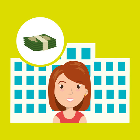 swimming pool home: woman hotel service building vector illustration graphic
