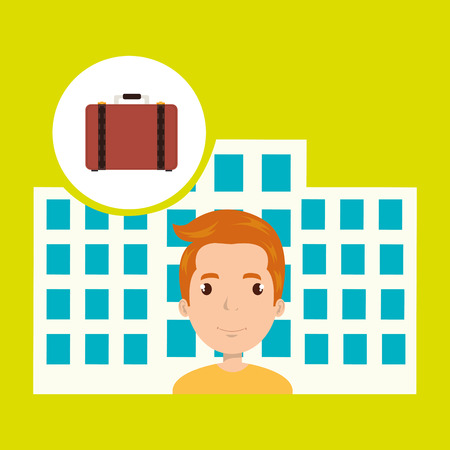 masseuse: man hotel service building vector illustration graphic