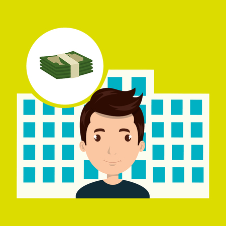 man hotel service building vector illustration graphic