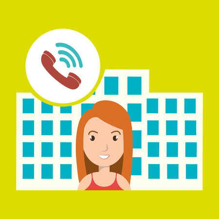 well being: woman hotel service building vector illustration graphic