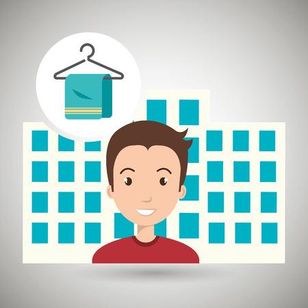 man hotel service building vector illustration graphic