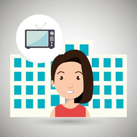 hotel building: woman hotel service building vector illustration graphic