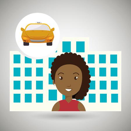 woman hotel service building vector illustration graphic Vetores