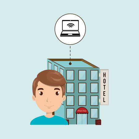 waiting room: man hotel building service vector illustration design