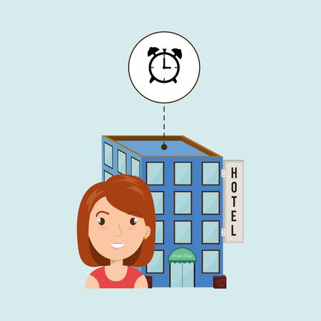 visitador medico: mujer del hotel servicio de construcción de ilustración vectorial de diseño