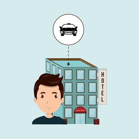 man hotel building service vector illustration design