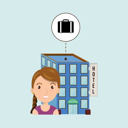 woman hotel building service vector illustration design Illustration