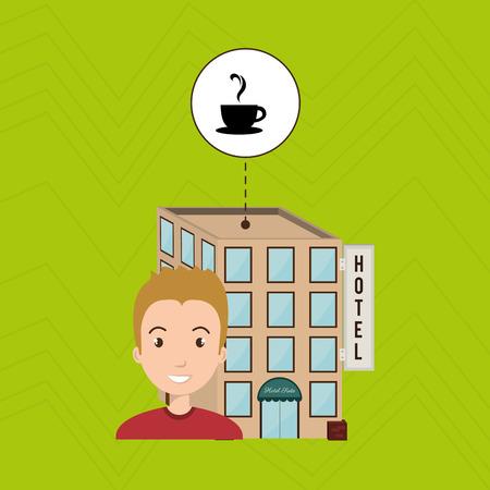 visitador medico: man hotel building service vector illustration design