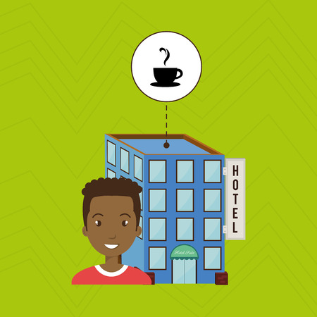 hotel building: man hotel building service vector illustration design