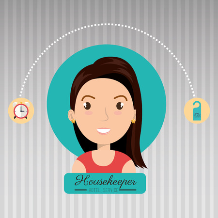ironing: housekeeper woman service icon vector illustration design