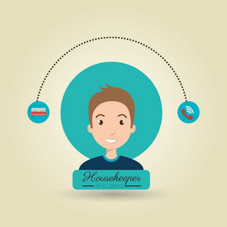 ironing: housekeeper man service icon vector illustration design