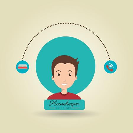 housekeeper man service icon vector illustration design
