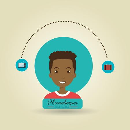 ama de llaves: servicio de ama de llaves hombre ilustraci�n del vector del icono del dise�o Vectores